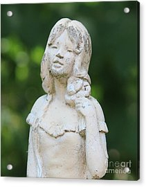 Girl In The Garden Statue Acrylic Print by Cynthia Snyder