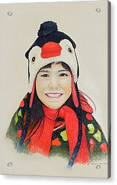 Girl In The Penguin Cap Acrylic Print