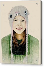 Girl In The Rabbit Cap Acrylic Print