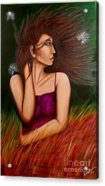 Girl In Wind Acrylic Print by Saranya Haridasan