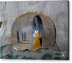 Girl In Yellow Acrylic Print by Ildiko Decsei