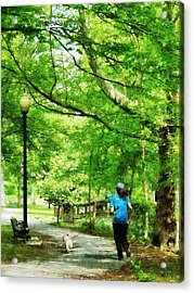 Girl Jogging With Dog Acrylic Print by Susan Savad