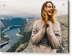 Girl Laughing On The Trolltunga Acrylic Print by Oleh_Slobodeniuk