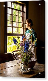 Acrylic Print featuring the photograph Girl Looking Through An Open Window  by Levin Rodriguez