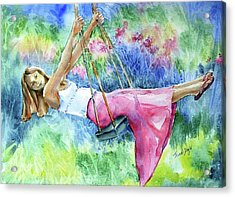 Acrylic Print featuring the painting Girl On A Swing  by Trudi Doyle