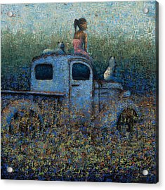 Girl On A Truck Acrylic Print by Ned Shuchter