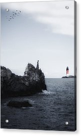 Girl On Cliffs Acrylic Print