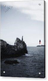 Girl On Cliffs Acrylic Print