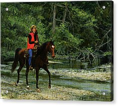 Girl On Horse Acrylic Print by Don  Langeneckert