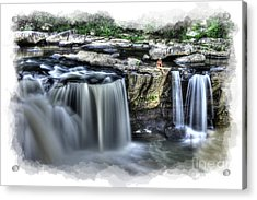 Girl On Rock At Falls Acrylic Print by Dan Friend