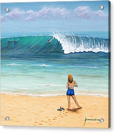 Girl On Surfer Beach Acrylic Print by Jerome Stumphauzer