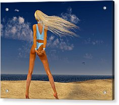 Girl On The Beach... Acrylic Print by Tim Fillingim