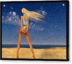 Girl On The Beach...watercolor Effected Acrylic Print