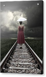 Girl On Tracks Acrylic Print by Joana Kruse
