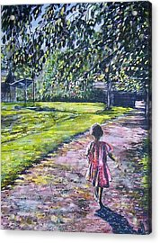 Girl On Trail Acrylic Print by Linda Vaughon
