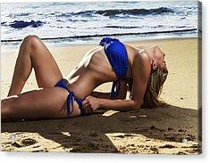 Girl On Winkelspruit Beach Acrylic Print by Peter Turner