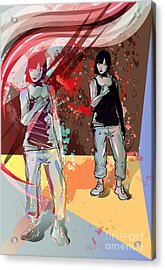 Girl Power, Abstract Grunge Background Acrylic Print