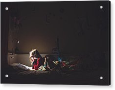 Girl Reading In Her Bed At Night Acrylic Print by Teresa Short