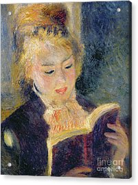 Girl Reading Acrylic Print by Pierre Auguste Renoir