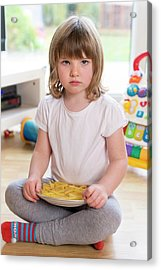 Girl Sitting On Floor With French Fries Acrylic Print by Aberration Films Ltd