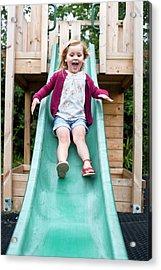 Girl Sliding Down A Slide Acrylic Print