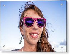 Girl Smiling With Pink Sunglasses Acrylic Print by Linka A Odom