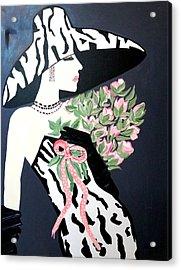 Girl That Loves Pink  Art Deco Acrylic Print