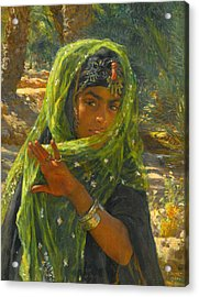 Girl Veiling Acrylic Print by Etienne Dinet