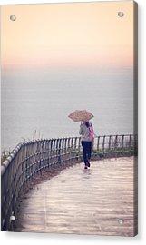 Girl Walking With Umbrella Acrylic Print