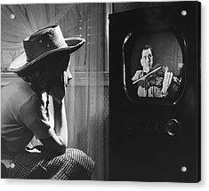 Girl Watching Tv Acrylic Print