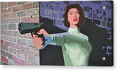 Girl With A Gun Acrylic Print by Geoff Greene
