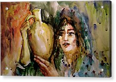 Acrylic Print featuring the painting Girl With A Jug. by Faruk Koksal