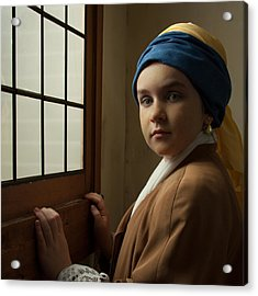 Acrylic Print featuring the photograph Girl With A Pearl Earring At A Window by Levin Rodriguez