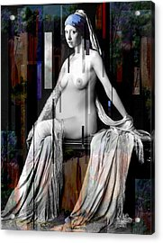 Girl With A Pearl Earing Pregnant Nude Acrylic Print