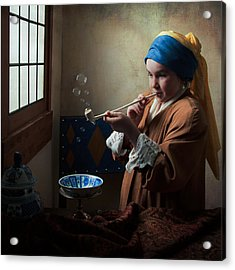 Acrylic Print featuring the photograph Girl With A Pearl Earring Blowing Bubbles by Levin Rodriguez