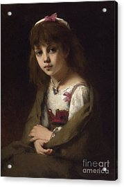 Girl With A Pearl Necklace Acrylic Print by Celestial Images