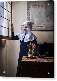 Girl With A Water Pitcher Acrylic Print by Levin Rodriguez