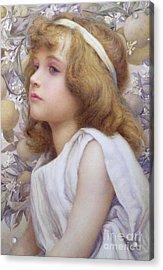 Girl With Apple Blossom Acrylic Print
