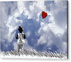 Girl With Balloon 2 Acrylic Print by Jason Tricktop Matthews