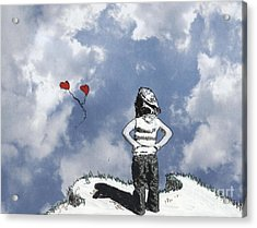 Girl With Balloons 4 Acrylic Print by Jason Tricktop Matthews