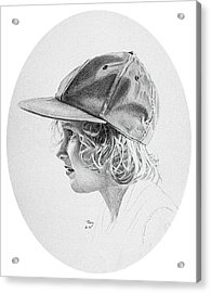 Girl With Baseball Cap Acrylic Print by Robert Tracy
