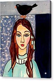 Girl With Blackbird Acrylic Print