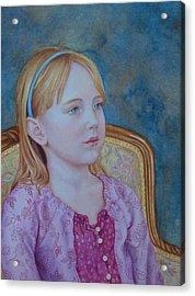 Girl With Blue Headband Acrylic Print