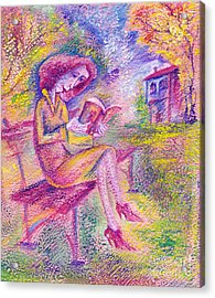 Girl With Book Acrylic Print by Milen Litchkov