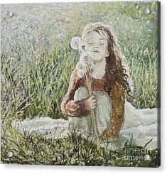 Girl With Dandelions Acrylic Print