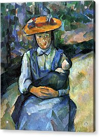 Girl With Doll By Cezanne Acrylic Print by John Peter