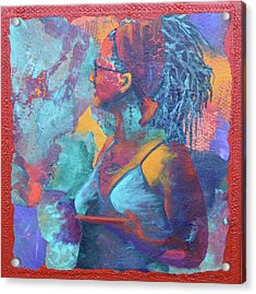 Acrylic Print featuring the painting Girl With Dreads by Nancy Jolley