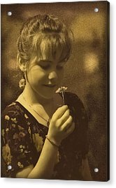 Girl With Flower Acrylic Print by Hanny Heim