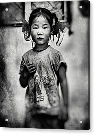 Girl With Hair Bows Acrylic Print by Txules