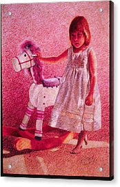 Girl With Hobby Horse Acrylic Print